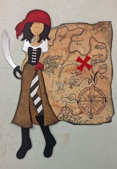 Ahoy!  Pirate doll kit representing our theme this year at Treasured Memories, Lafayette, La.  Made with prima Doll stamp