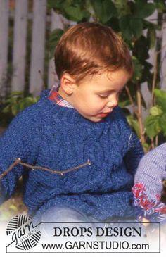 DROPS Children 9-2 - Pull raglan DROPS à torsades en Den-M-nit - Free pattern by DROPS Design