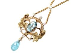Ageless Heirlooms' Antique Jewelry Blog» My Top Ten Pins - March Aquamarine, pearl and gold pendant on chain