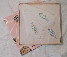 Vintage Handkerchiefs in Original Box by LittleBohoCottage on Etsy $14.50