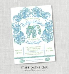 blue and green paisley Indian elephant baby boy  by misspokadot, $15.00