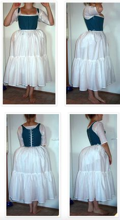 petticoat over bum pad for 1770s and 1780s skirt shaping