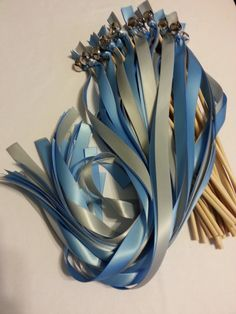 100 Ribbon Wedding Bell Wands  Choose your colors by DivinityBraid