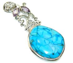 $54.15 Secret Blue Sea Sediment Jasper Sterling Silver Pendant at www.SilverRushStyle.com #pendant #handmade #jewelry #silver #jasper