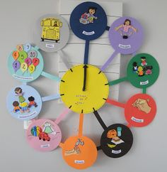 Kindy Clock- a picture schedule for Child Care or Preschool Kids Crafts, Animal Crafts For Kids, Preschool Art Activities, Indoor Activities For Kids, Daily Routine Chart For Kids, Manners For Kids, Kids Schedule, School Decorations, Toddler Fun