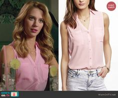 Petra's pink sleeveless button front top on Jane the Virgin.  Outfit Details: http://wornontv.net/45488/ #JanetheVirgin