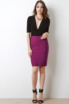 This sculpturing bandage skirt features a stretchy knit, seamless high waist, and knee length hem. Dress it up or dress it down, either way you're winning! Measurement Size Waist Hem Hip Length S 25 30 M 27 32 L 29 34 Hot Outfits, Trendy Outfits, Dress Outfits, Beautiful Girl Image, Beautiful Models, Bandage Skirt, Long Maxi Skirts, Great Legs, Dress Skirt