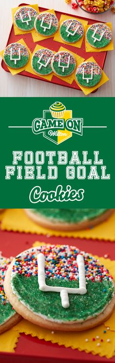 Make these fun football field goal cookies and score for your home team as you all watch the big game! These cookies are quick and easy to make using your favorite roll out cookie dough and some colorful Wilton Sprinkles. These goal post cookies are great for youth football treats, game day snack or anytime you want a sweet and colorful treat while you cheer on your favorite team!