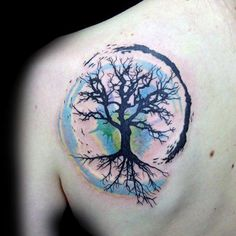 Blue Green And Black Male Tree Of Life Shoulder Blade Tattoos