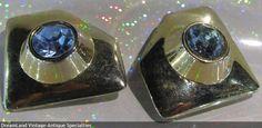 Ellen Designs - blue stone gold tone earrings - MAKE $ OFFER DreamLandSpecialties@comcast.net