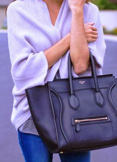 Simple cute oversized cardigan and bag