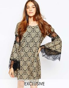 Buy Fallen Star Trapeze Swing Dress with Fluted Sleeve in Baroque Print at ASOS. Get the latest trends with ASOS now. Bohemian Style Dresses, Boho Outfits, Boho Dress, Short Long Dresses, Tall Dresses, Baroque Dress, Star Wars, Asos, Models
