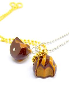 Caramel Chocolate Truffle Charms and Necklaces by Right2BearCharms on Etsy