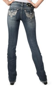 Miss Me® Womens Medium Wash- Silver Embroidery with Sequins & Crystals Flap Pocket Boot Cut Jeans |