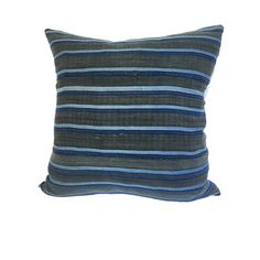 African Gray and Indigo Striped Accent Pillow   STEF  $80