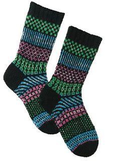 Ravelry: Simple Stripes Fair Isle Socks pattern by Kathleen Taylor Crochet Socks, Knitting Socks, Hand Knitting, Knit Socks, Knitted Slippers, Ravelry, Fair Isle Pattern, Mittens Pattern, Fair Isle Knitting