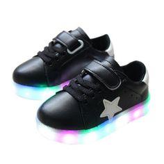 Kinder Stern Schuhe Mit LED Sohle Schwarz