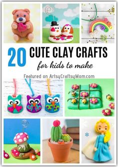 20 Cute and Easy Clay Crafts for Kids Whether it's polymer or the air drying variety, these cute clay crafts for kids are a breeze to make! Just gather your tools and unleash your creativity! Clay Projects For Kids, Clay Crafts For Kids, Diy Crafts, Simple Crafts, Air Dry Clay Ideas For Kids, Art Projects, Cute Clay, Japanese Paper, Clay Art