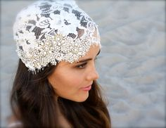Lace Bridal Cap (Vintage Ivory or White Lace with hand set Swarovski Crystals) custom made by Doloris Petunia $475 on Etsy