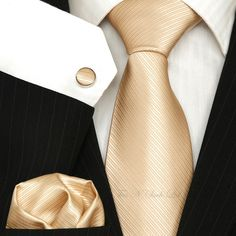 Champagne - Gold Wedding Tie Sets / Necktie sets - Plain Tie Sets - Ties N Such