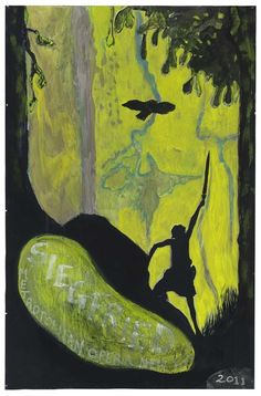 Peter Doig (British, b. 1959), Siegfried (bird), 2011. Distemper on paper, 79 x 52 in.