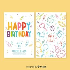 Birthday invitation template in hand drawn style Free Vector Bakery Business, Club Design, Birthday Invitation Templates, How To Draw Hands, Happy Birthday, Party, Blog, Vector Freepik, Hand Drawn