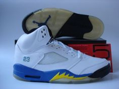 Jordans Shoes Jordan 5 White Blue Black Yellow [Jordan 5 - Air Jordan 5 White Blue Black Yellow sports an overall white leather upper with a noticeable blue midsole, as well as minimal yellow shark teeth inserts. Michael Jordan Shoes, Air Jordan Shoes, Jordan Outlet, Wholesale Nike Shoes, Jordan V, Air Jordan 5 Retro, Nike Basketball Shoes, Retro Shoes, Black N Yellow