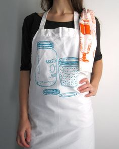 Screen Printed Full Apron - Natural Cotton Twill - Vintage Mason Jar Illustration - Eco Friendly - Super Awesome Kitchen Apron by ohlittlerabbit on Etsy https://www.etsy.com/listing/168033898/screen-printed-full-apron-natural-cotton