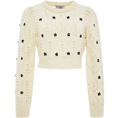 Preen by Thornton Bregazzi Ivory Wool Cropped Embroidered Sweater ($413) ❤ liked on Polyvore featuring tops, sweaters, cropped sweater, long sleeve sweaters, wool crew neck sweater, crop top and boho sweater