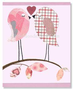 The Pink Birds Personalized 8x10 Nursery Print Baby by LittleMonde, $15.00