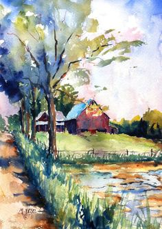 Abandoned Farm on 1000 West print of my original water by myazel, $20.00