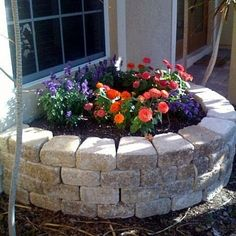 The stone paver retaining wall I built makes a perfect raised flower bed!