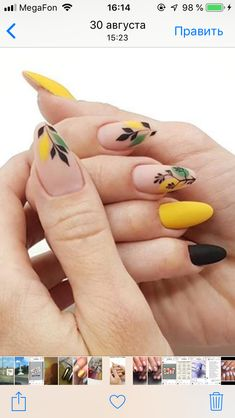 Fall dusty yellow nails with a delicate leaf design.❤ Fall dusty yellow nails with a delicate leaf design.