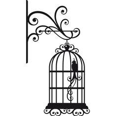 Vinilo decorativo Jaula Pájaro Plumas