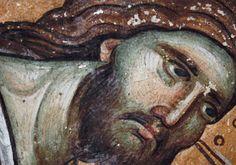 Manuel Panselinos (Μανουήλ Πανσέληνος) detail fresco in the Protaton at Karyes, Mount Athos. Macedonian School. 13th - 14th centuries.