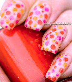 Dotticure!  Neon dots over OPI Glints of Glinda nude jelly base.