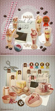 Scrapbook Food Elements Vector