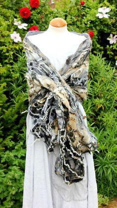 Handmade cobweb felted wool shawl scarf - grey beige black lagenlook - neutrals £85