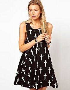 ASOS Swing Dress with Grunge Cross Print