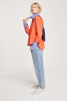 Asymmetric Blouse with Stand-Up Collar Rolled Up Jeans, Loose Fit Jeans, Rain Jacket, Windbreaker, Raincoat, Woman, Blouse, Unique, Jackets