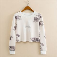 Sets round collar leaf printed long-sleeve fashion fleece