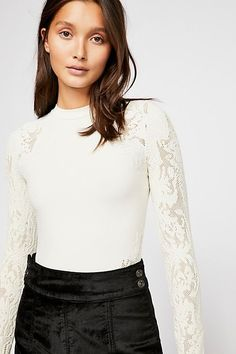 Seamless Mock Neck Longsleeve - White Long Sleeve Top with Sheer Floral Sleeves
