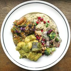 Monday MaE bowl, with thai green curry, charred broccoli with lemon tahini, roasted sweet potato with coriander tahini and our new aubergine dip Vegetarian Recipes, Healthy Recipes, Savoury Recipes, Charred Broccoli, Deliciously Ella, Healthy Eating, Healthy Lunches, Good Enough To Eat