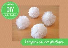 Pompoms en sacs plastiques - Fiche créative Atelier Chez Soi