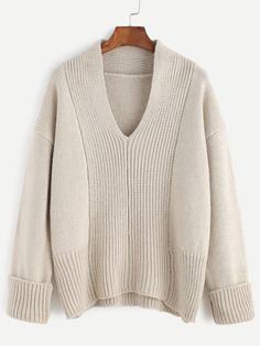 To find out about the Apricot V Neck Drop Shoulder Cuffed Sweater at SHEIN, part of our latest Sweaters ready to shop online today! Latest Fashion For Women, Womens Fashion, Cute Tops, Shirt Jacket, Women's Fashion Dresses, Knitwear, Cute Outfits, Men Sweater, V Neck