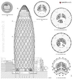 30 St Mary Axe - Swiss Re Tower drawings