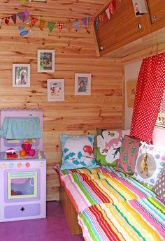 colourful prints in a caravan
