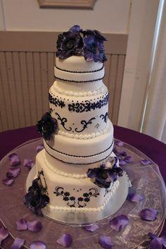 Ivory & Lapis Purple Wedding Cake with Sugar Poppies