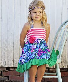 Look at this Purple & Green Halter Tieback Dress - Infant, Toddler & Girls on #zulily today!