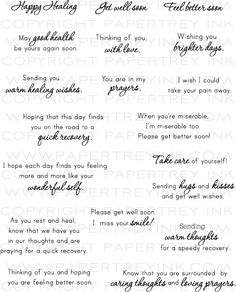 Papertrey Ink Healing Thoughts stamp set Source by Greeting Card Sentiments, Les Sentiments, Sympathy Cards, Sympathy Messages, Greeting Cards, Get Well Wishes, Verses For Cards, Card Sayings, Mothers Day Quotes